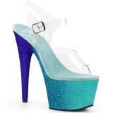 Blau glitter 18 cm Pleaser ADORE-708OMBRE pole dance high heels schuhe