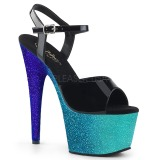Blau glitter 18 cm Pleaser ADORE-709OMB pole dance high heels schuhe