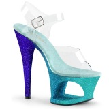 Blau glitter 18 cm Pleaser MOON-708OMBRE pole dance high heels schuhe