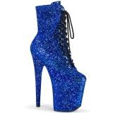 Blau glitter 20 cm FLAMINGO-1020GWR exotic pole dance stiefeletten