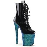 Blau glitter 20 cm FLAMINGO-1020LG pole dance stiefeletten