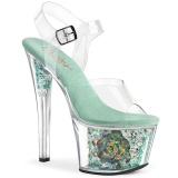 Blau transparent 18 cm SKY-308CF exotic pole dance schuhe
