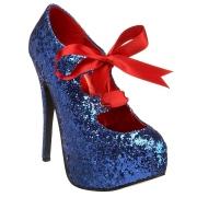 Blaue Glitter 14,5 cm TEEZE-10G Concealed platform burlesque pumps schuhe