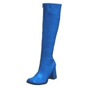 Blaue lackstiefel blockabsatz 7,5 cm - 70er jahre hippie disco kniehohe boots gogo