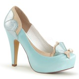 Blue 11,5 cm retro vintage BETTIE-20 Pinup pumps with hidden platform