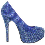 Blue Rhinestone 14,5 cm Burlesque TEEZE-06R Platform Pumps Women Shoes