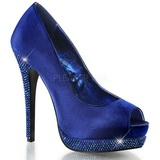 Blue Satin 13,5 cm BELLA-12R Rhinestone Platform Pumps Shoes