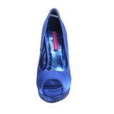 Blue Satin 13,5 cm BELLA-12R Rhinestone Platform Pumps Shoes