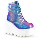 Blue glitter 11,5 cm SHAKER-52 lolita ankle boots wedge platform