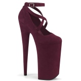Bordo vegan suede 25,5 cm BEYOND-087FS high heels - extreme plateau pumps