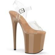 Braun 20 cm FLAMINGO-808-1 plateauschuhe high heels