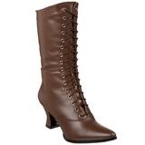 Braun 7 cm VICTORIAN-120 Damen Stiefeletten mit Schnürsenkel