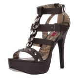 Braun Kunstleder 14,5 cm Burlesque TEEZE-42W herren high heels für breite füsse