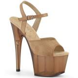 Braun Kunstleder 18 cm ADORE-709T pleaser sandaletten mit plateau