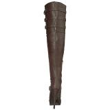 Braun Kunstleder Breite Waden 13 cm CHLOE-308 Weitschaft Overknee Stiefel