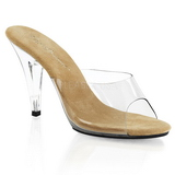 Braun Transparent 11 cm CARESS-401 Damen Mules Schuhe
