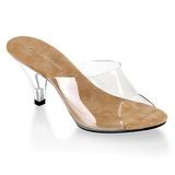 Braun Transparent 8 cm BELLE-301 Damen Mules Schuhe