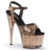 Bronze 18 cm ADORE-710GT glitter plateau high heels