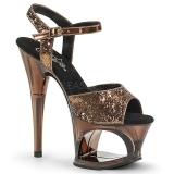 Bronze 18 cm MOON-710GT glitter plateau high heels