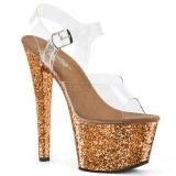 Bronze glitter 18 cm Pleaser SKY-308LG pole dance high heels schuhe