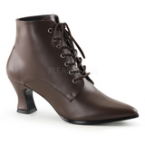 Brown 7 cm VICTORIAN-35 Lace Up Ankle Calf Women Boots