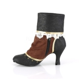 Brown Black Microfiber 7,5 cm MATEY-115 Retro Ankle Calf Boots