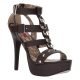 Brown Leatherette 14,5 cm Burlesque TEEZE-42W mens high heels for wide feets