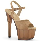 Brown Leatherette 18 cm ADORE-709T platform pleaser sandals