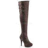 Brown Leatherette Wide Calf 13 cm CHLOE-308 Overknee Boots