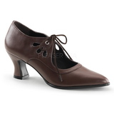 Brown Matte 7 cm VICTORIAN-03 Women Pumps Shoes Flat Heels