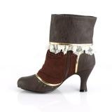 Brown Microfiber 7,5 cm MATEY-115 Retro Ankle Calf Boots