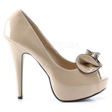 Brown Shiny 13,5 cm LOLITA-10 Platform Pumps Open Toe