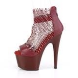 Burgundy high heels 18 cm ADORE-765RM glitter plateau high heels