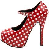 Burlesque TEEZE-08 Rote Damenpumps mit Weisse Punkten 14,5 cm Heel