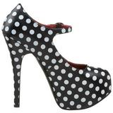 Burlesque TEEZE-08 Schwarze Damenpumps mit Weisse Punkten 14,5 cm Heel