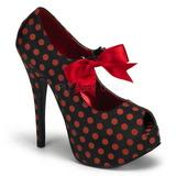 Burlesque TEEZE-25 Schwarze Damenpumps mit Rote Punkten 14,5 cm