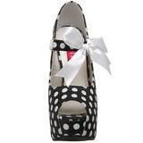 Burlesque TEEZE-25 Schwarze Damenpumps mit Weisse Punkten 14,5 cm