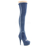 Canvas 15 cm DELIGHT-3007 Platform Thigh High Boots