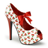 Cherry White 14,5 cm TEEZE-25-3 Womens Shoes with High Heels