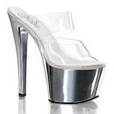 Chrome Transparent 18 cm SKY-302 Platform Damen Mules Schuhe