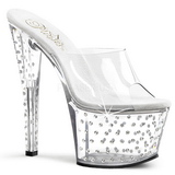 Clear Rhinestone Platform 18 cm STARDUST-701 Women Mules Shoes