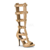 Cream 11,5 cm GLADIATOR-208 knee high womens gladiator sandals