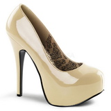Creme Lack 14,5 cm Burlesque BORDELLO TEEZE-06 Plateau Pumps