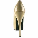 Creme Lack 14,5 cm Burlesque BORDELLO TEEZE-06 Plateau Pumps
