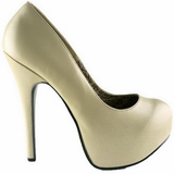 Creme Matt 14,5 cm Burlesque BORDELLO TEEZE-06 Plateau Pumps