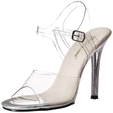 Durchsichtig 11,5 cm GALA-08MG Stiletto Sandaletten mit hohen Absätzen