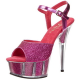 Fuchsia Glitzern 15 cm DELIGHT-609-5G Plateau High Heel
