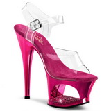 Fuchsia Transparent 18 cm MOON-708DMCH Plateau High Heels