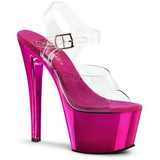 Fuchsia Transparent 18 cm SKY-308 Plateau High Heels