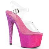 Fuchsia glitter 18 cm Pleaser ADORE-708OMBRE pole dance high heels schuhe
